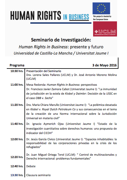 UCLM/Jaume I Seminar May 3, 2016
